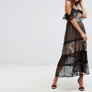 Boohoo Mixed Lace Cold Shoulder Maxi Dress